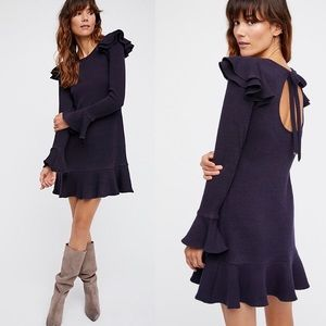 Saylor x FP Chase Mini Dress navy blue ruffle knit